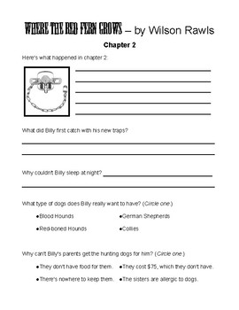 Where the Red Fern Grows by Wilson Rawls Student Journals & Worksheets