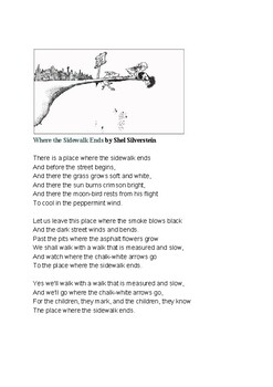 Where the Sidewalk Ends by Shel Silverstein Poem and Questions