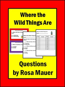 Where the Wild Things Are Literacy Task Cards