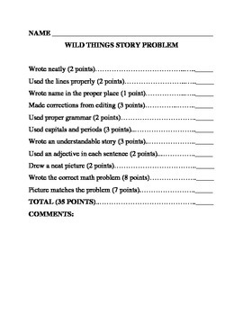 Where the Wild Things Are Story Problem Rubrics