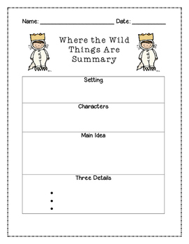Where the Wild Things Are Summary Graphic Organizer