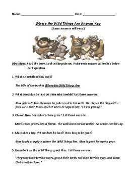 Where the Wild Things Are: Worksheet (or Test) with ...