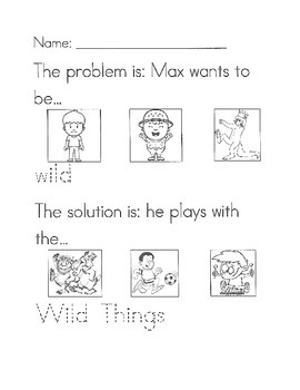 Where the Wild Things Are problem/solution worksheet