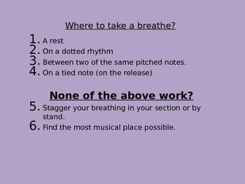 Where to take a breathe in music?