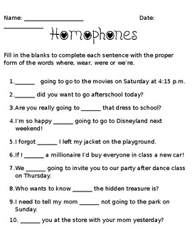 Where, wear, were, we're Homophone Worksheet