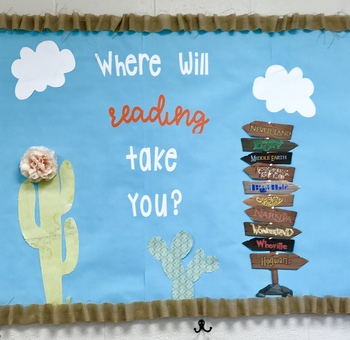 Where will reading take you Bulletin Board direction stack sign