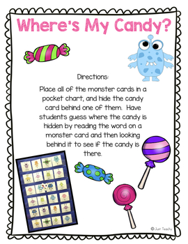 Where's My Candy?-(closed syllable/short vowel/blends/digraphs)Pocket Chart Game