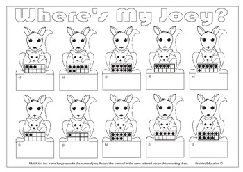 Where's My Joey Ten Frame Matching Game