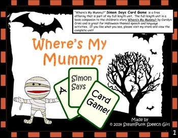 Where's My Mummy SIMON SAYS Game Cards