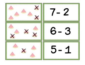 Where'd You Go Watermelon?  Common Core Aligned Subtraction Freebie