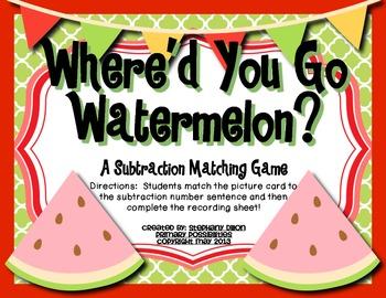Where'd You Go Watermelon?  Common Core Aligned Subtractio