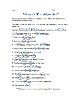 Where's the Adjective? - skills practice worksheet