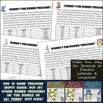 Latitude & Longitude Practice - 10 Treasure Hunts - Part 1
