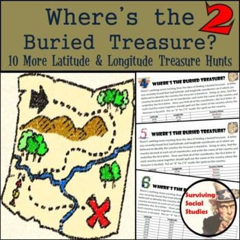 Latitude & Longitude Practice - 10 Treasure Hunts - Part 2