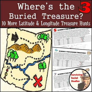 Latitude & Longitude Practice - 10 Treasure Hunts - Part 3