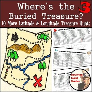 Latitude & Longitude Practice - 10 Treasure Hunts - Part 3