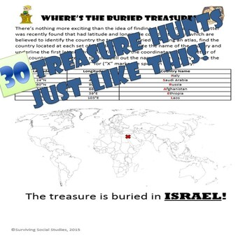 Latitude and Longitude Activity - Bundle of 30 Treasure Hunts