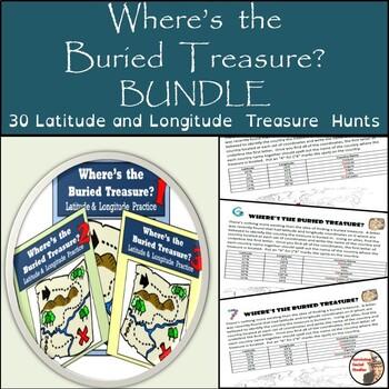 Latitude and Longitude Activity - Bundle of 30 Treasure Hunts