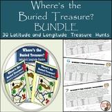 Latitude and Longitude Worksheets - 30 Treasure Hunts Bundle - Fun!!