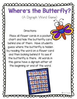 Where's the Butterfly? A Digraph Pocket Chart Game (sh, ch, th)