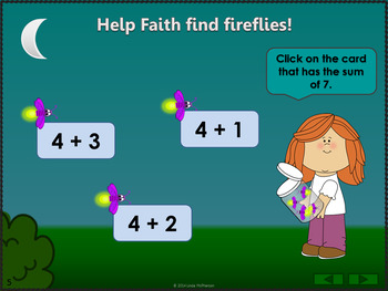 Interactive Math Game Addition to 10 {Firefly}