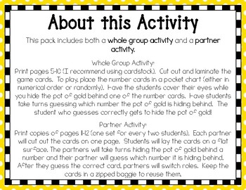 Where's the Gold? {A 0-30 Number Recognition Activity}