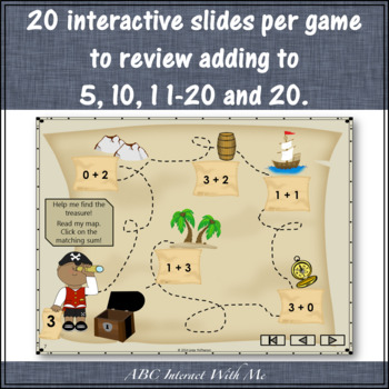 Where's the Treasure? Sums 1 to 20 Bundle (Interactive Addition Games)