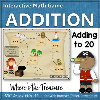 Where's the Treasure? Sums 1 to 20 (Interactive Addition Game)