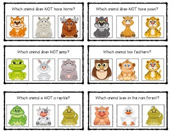 Which Animal? Science Clip Cards FREEBIE