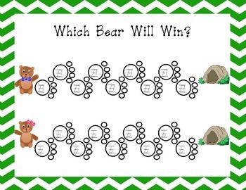 Which Bear Will Win? Handwriting Game - D'Nealian