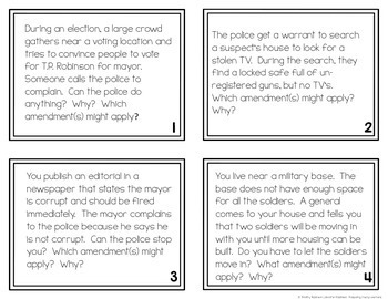 Which Bill of Rights? ~ Bill of Rights Task Card Activity