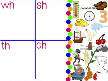 Blends & Digraphs -SMART Notebook -3 Sets: ch,sh,th,wh/ gl,cl,bl,fl/ br,cr,tr,dr
