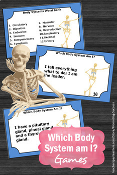 Human Body Systems Stations Review Task Cards for Science Center Games