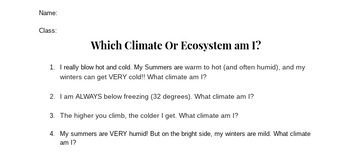 Which Climate or Ecosystem am I?