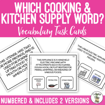 Which Cooking and Kitchen Word Task Cards