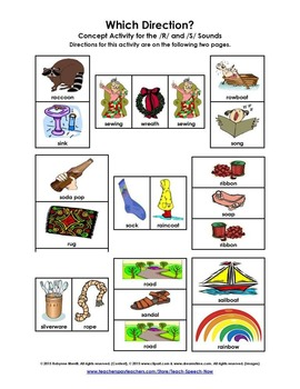 """""""Which Direction?"""" Concept Activity for the R and S Sounds"""