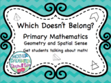 Which Doesn't Belong - Geometry, 2D, 3D, Symmetry. Math talks and Math Centres!