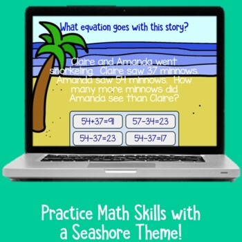 Which Equation Goes With This Story Seashore Theme   BOOM Cards