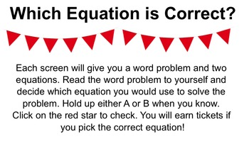Which Equation is Correct? - Math Word Problem Review Game