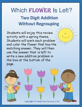 Which Flower Is Left? Two Digit Addition Without Regrouping