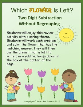 Which Flower Is Left? Two Digit Subtraction Without Regrouping