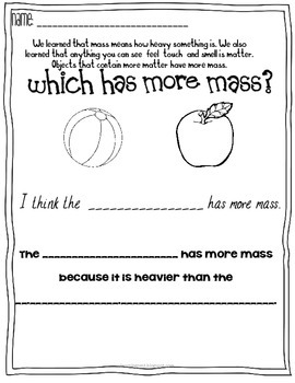 Which Has More Mass? Mass and Matter