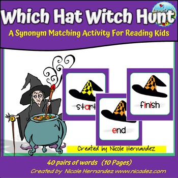 Synonym Matching Activity For Reading Kids - Which Hat?
