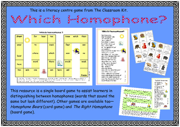 Which Homophone?  Board Game