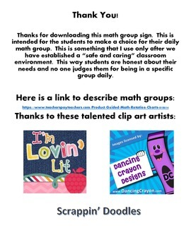 Which Math Group: Student guided math choice poster