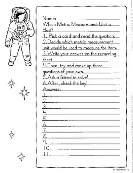 Which Metric Measurement Fits Best Task Cards-Math in Focus Chapter 11 3rd grade