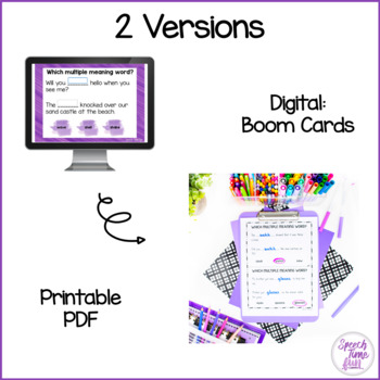 Which Multiple Meaning Word? Boom Cards