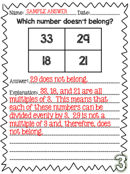 Which Number Doesn't Belong Set {CC Math Aligned Response}