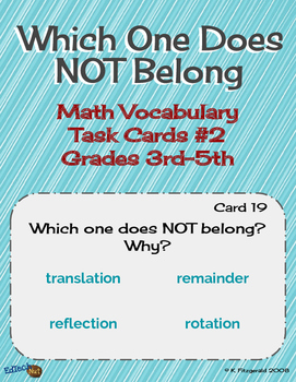 Which One Does NOT Belong - Math Vocabulary Task Cards Part 2