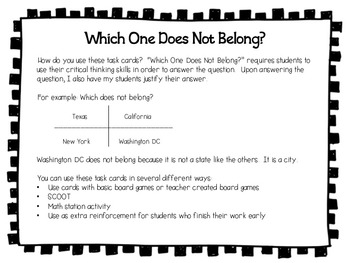 Place Value - Which One Does Not Belong Critical Thinking Task Cards